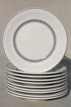 vintage Shenango china heavy ironstone restaurantware plates, deco mod black on white design