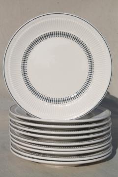 vintage Shenango china heavy ironstone restaurantware plates, deco mod black on white design