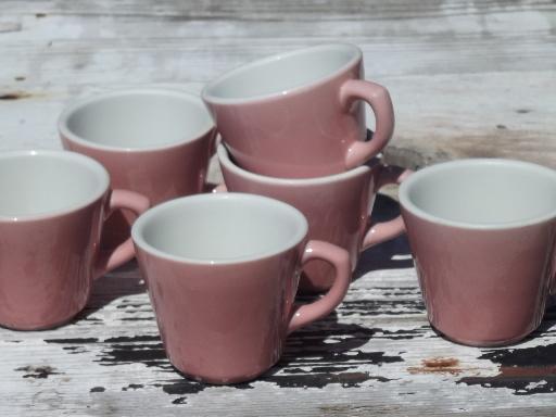 vintage Shenango ironstone china coffee cups, retro diner mugs in pink!