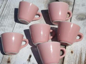 vintage Shenango ironstone china coffee cups, retro diner mugs in pink!