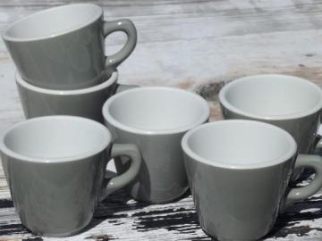 vintage Shenango ironstone china coffee cups, retro steel grey diner mugs