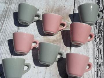 vintage Shenango ironstone china coffee mugs, retro steel grey and pink!