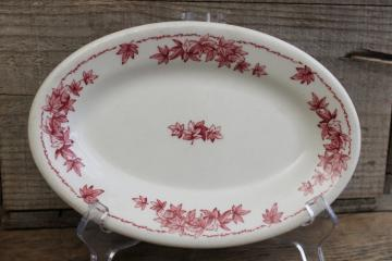 vintage Shenango ironstone china oval plate or butter dish, red transferware leaves print
