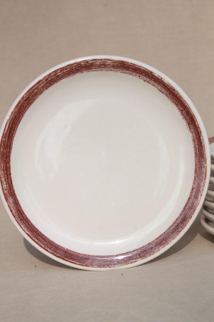 Vintage Shenango Ironstone China Ranch Camp Plates W Rustic Brown Brushstroke Border