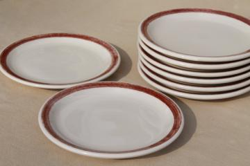 vintage Shenango ironstone china ranch camp plates w/ rustic brown brushstroke border