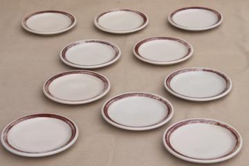 vintage Shenango ironstone china ranch camp plates w/ rustic brown brushstroke border