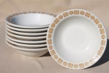 vintage Shenango restaurant china soup or oatmeal bowls, gold daisy border pattern