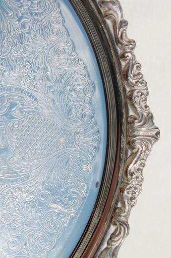 Vintage Sheridan Silver Tray Turntable Very Ornate Large