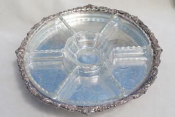 vintage Sheridan silver tray turntable, very ornate, large enough for a wedding cake stand!