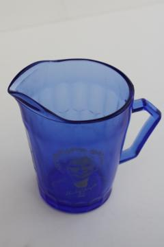 vintage Shirley Temple pitcher, cobalt blue depression glass Hazel Atlas