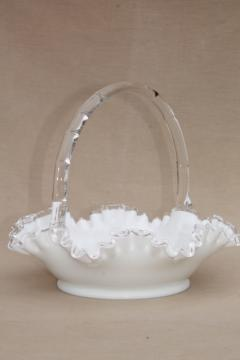 vintage Silver Crest Fenton milk glass brides basket, fruit / flower bowl centerpiece