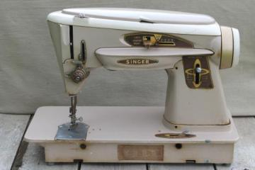 vintage Singer 503A sewing machine, 60s Singer Slant-O-Matic Rocketeer sewing machine