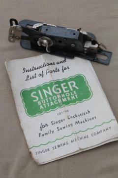 vintage Singer sewing machine buttonhole attachment w/ manual, Singer 121795 buttonholer