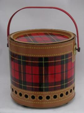 vintage Skotch plaid red tartan tailgating picnic grill for charcoal