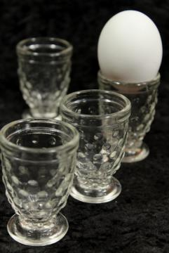 vintage Smith glass hobnail pattern shot glasses or egg cups, footed cordials?