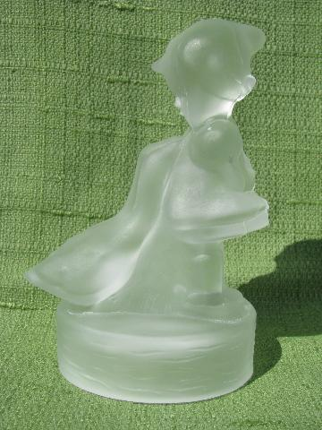 vintage Smith label art glass figurine, crystal Little Goose Girl