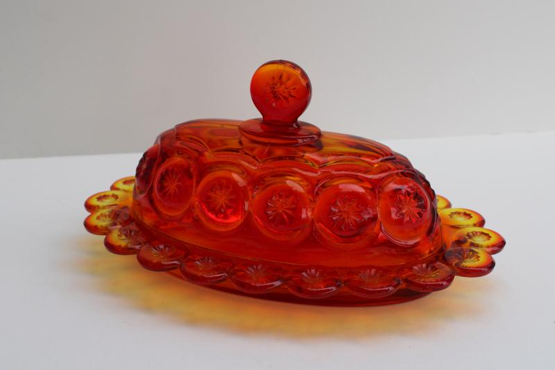 vintage Smith moon & stars amberina glass butter dish, oval plate w/ dome cover