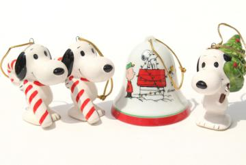 vintage Snoopy Christmas ornaments, 70s Peanuts Charlie Brown Woodstock bell