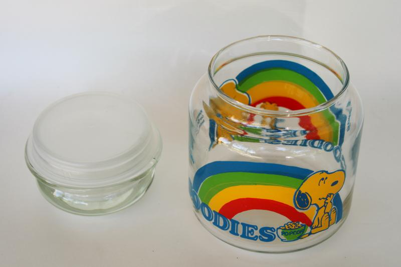 vintage Snoopy Woodstock rainbow print glass Goodies candy jar, small canister