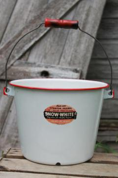 vintage Snow White enamel ware pail with label, farm kitchen / garden bucket