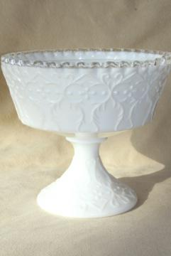 vintage Spanish Lace Fenton milk glass (not silver crest) compote candy dish or flower bowl
