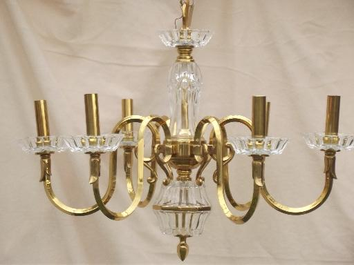 vintage Spanish brass chandelier solid brass light w glass bocheches – Brass and Glass Chandelier