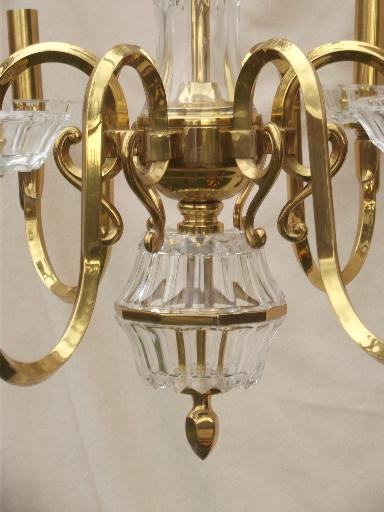 vintage Spanish brass chandelier, solid brass light w/ glass bocheches