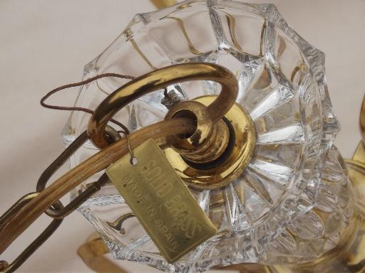 vintage Spanish brass chandelier, solid brass light w/ glass bocheches - Spanish Brass Chandelier, Solid Brass Light W/ Glass Bocheches