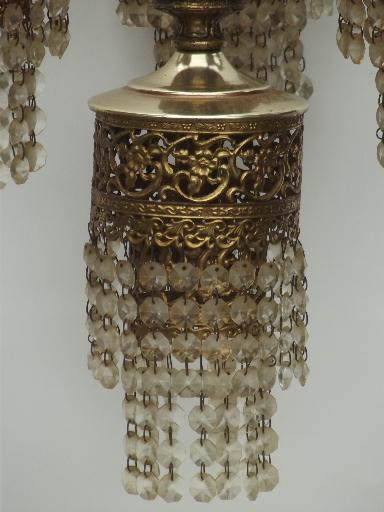 Vintage Spanish Brass Chandelier Waterfall Tiered Glass