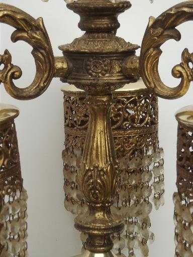 vintage Spanish brass chandelier, waterfall tiered  glass prisms chandelier