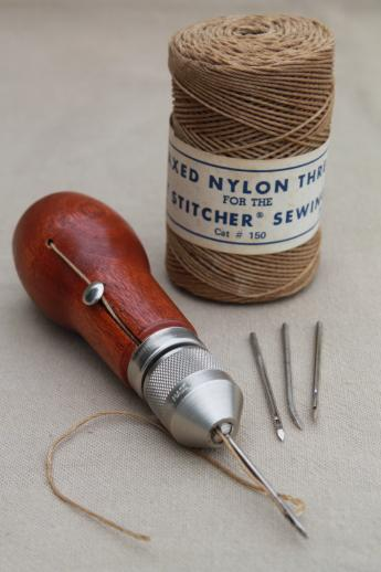 vintage Speedy Stitcher hand sewing awl w/ waxed nylon thread for tents u0026 canvas sails & vintage Speedy Stitcher hand sewing awl w/ waxed nylon thread for ...