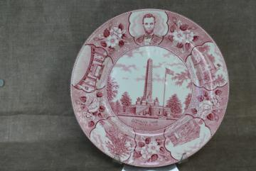 vintage Staffordshire china red transferware plate, souvenir of Lincoln Springfield Illinois