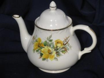 leaves pink Teapot gray vintage yellow
