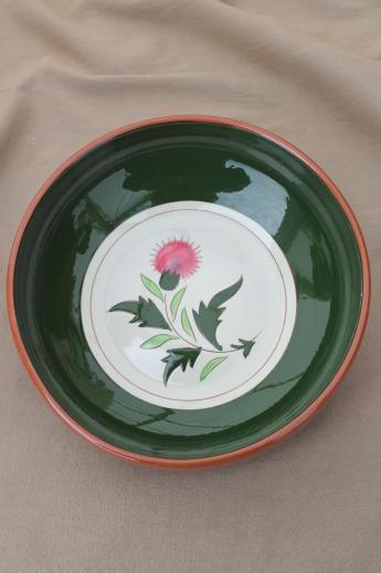 vintage Stangl pottery thistle pattern round vegetable bowl / serving dish & vintage Stangl pottery thistle pattern round vegetable bowl ...