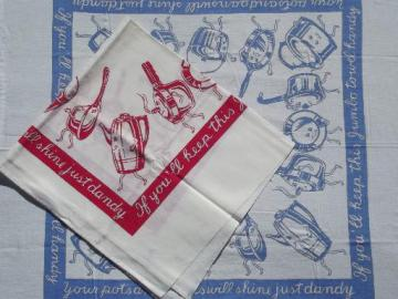 vintage Startex jumbo kitchen towels, cotton print towels w/ pots & pans