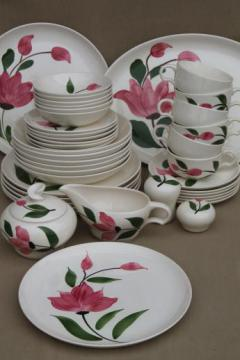 vintage Stetson Rio pottery dinnerware set for 6, red - pink rose flower