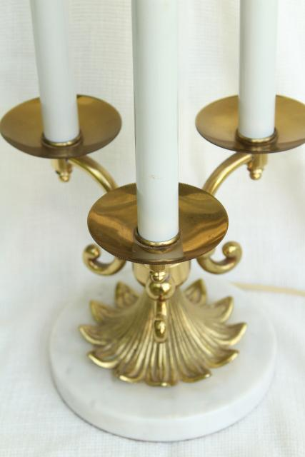 vintage Stiffel french bouillotte lamp, heavy brass candelabra w/ marble base
