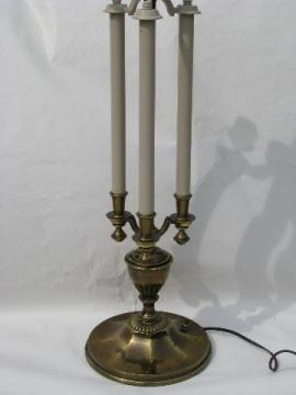 vintage Stiffel label, big solid brass two-light table lamp
