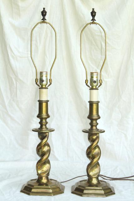 Vintage Stiffel Lamps Barley Twist Heavy Brass