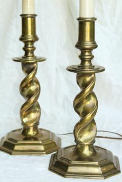vintage Stiffel lamps, barley twist heavy brass candlestick lamp pair