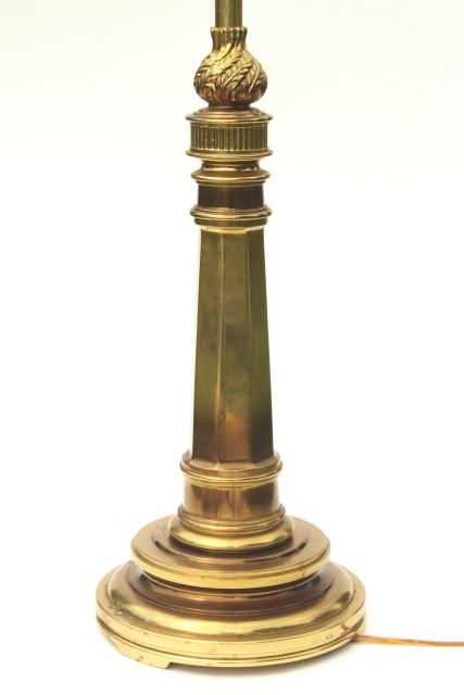 vintage Stiffel polished solid brass flame torch table lamp w/ 3-way switch