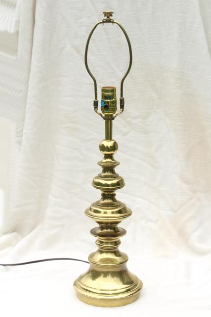 Vintage Stiffel Polished Solid Brass Table Lamp 3 Way Switch 150 Watts