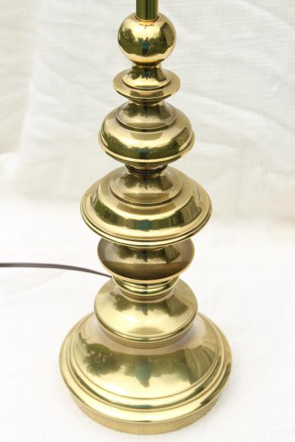 Vintage Stiffel Polished Solid Brass Table Lamp 3 Way
