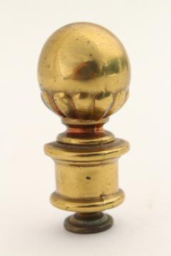 vintage Stiffel solid brass lamp shade finial, brass ball hardware
