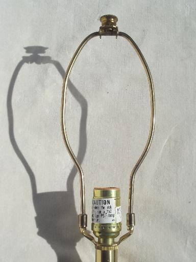 vintage Stiffel solid brass table lamp,  three way Stiffel torch flame lamp