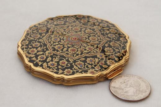 Vintage Stratton Compact English Enamel Gold Tone Powder