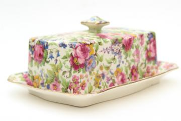 vintage Summertime Royal Winton chintz china covered butter dish, plate & cover