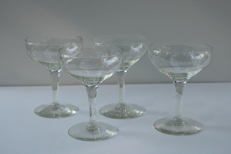 vintage Susquehanna crystal coupe champagne glasses, six pointed star etched stemware