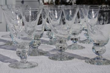 vintage Susquehanna crystal wine glasses or water goblets, six point star pattern glass