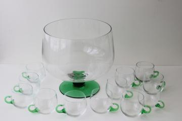 vintage Sussmuth punch bowl & cups, jade green & crystal clear hand blown glass